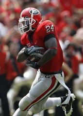 August 30, 2006: Georgia running back Knowshon Moreno (24) breaks away in the Georgia Bulldogs 45-21 victory over the Georgia Southern Eagles at Sanford Stadium in Athens, GA.
