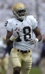 08 September 2007:  Notre Dame WR Duval Kamara (18). The Penn State Nittany Lions defeated the Notre Dame Fighting Irish 31-10 September 8, 2007 at Beaver Stadium in State College, PA.