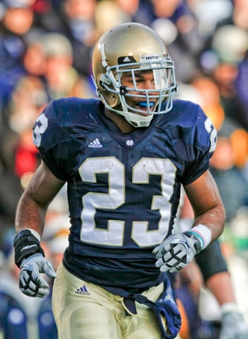 Former Notre Dame wide receiver Golden Tate is preparing for the NFL Draft as the Irish kick off the first Spring Pracitce under Brian Kelly.  (Photo - IconSMI)