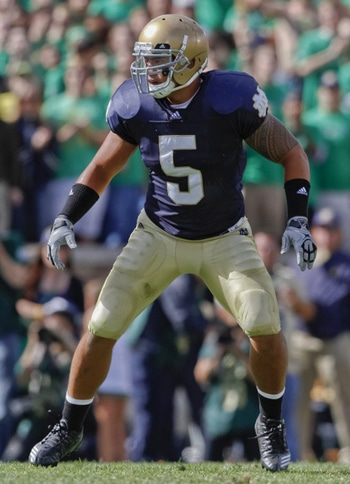 Manti Te'o wore #5 all the way to a 2nd place finish in the Heisman Trophy race in 2012.  (Photo - Icon SMI)