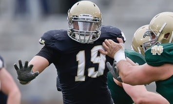 Aaron Lynch, shown here in the Blue Gold Game, was impressive in one on one drills during the first day of full contact practice for Notre Dame. (Photo - Icon SMI)