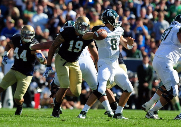 Aaron Lynch showed why he was such a highly sought after recruit on Saturday was a pass rushing performance Notre Dame hasn't seen in a while.  (Photo / IconSMI)