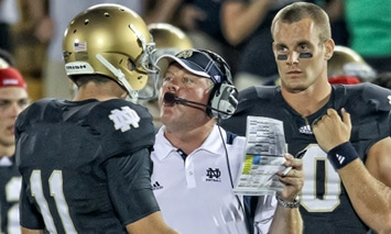 Tommy Rees and Dayne Crist have manned the QB position for Notre Dame for most of the Brian Kelly Era.  (Photo / Icon SMI)