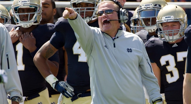 Brian Kelly was in mid-season form on the sidelines of Notre Dame Stadium on Saturday, his offense, however, unfortunately was not.  (Photo - Matt Cashore / USPresswire)