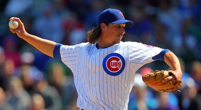 Notre Dame great Jeff Samardzija kicked off his 2012 season with a near complete game for the Cubs on Sunday. (Photo - Dennis Wierzbicki / US PRESSWIRE)