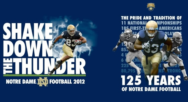 This year's edition of the shirt will be blue once again and features recent Notre Dame great Golden Tate prominently.