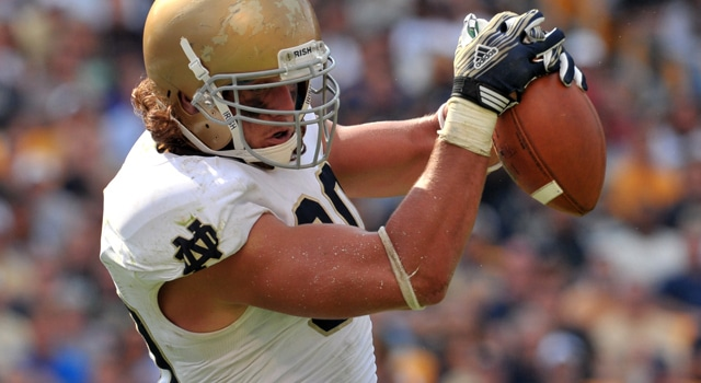 Tyler Eifert will be the main focus of the Irish passing game in 2012, but he is going to need help in order to replace the lost production of Michael Floyd.  (Photo - Matt Cashore / USPresswire)