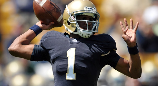 "Everett Golson remains the ""x-faxtor"" int he 2012 Notre Dame quarterback battle as the Irish prepare for fall camp. (Photo - Matt Cashore-US PRESSWIRE)"