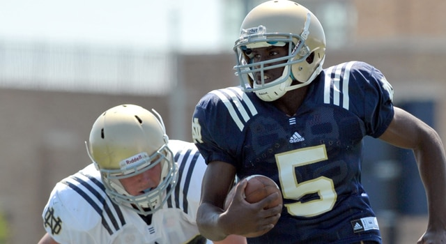 Sophomore Everett Golson was named the starting quarterback for the 2012 Fighting Irish on Thursday.  (Photo - Matt Cashore - USPRESSWIRE)