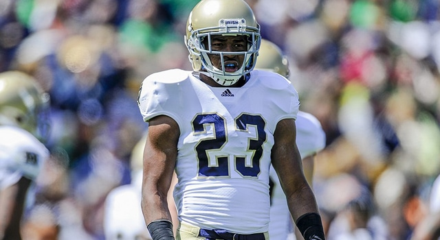 Notre Dame suffered its first major injury of the 2012 season Monday when starting corner Lo Wood reportedly went down for the season with an apparent ACL injury.  (Photo - Robin Alam/Icon SMI)