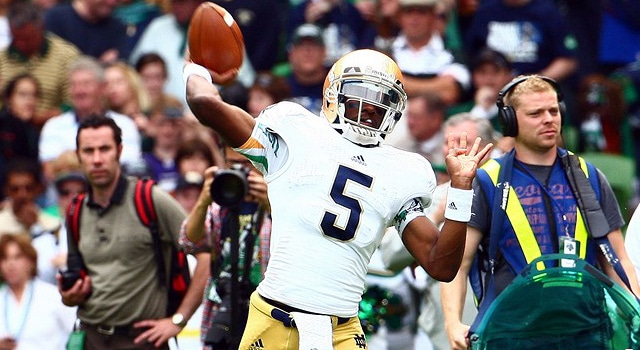 Emerald Isle Classic 2012 - Navy vs Notre Dame Notre Dame Fighting Irish quarterback Everett Golson #5 at the Aviva Stadium, Dublin.  (Photo - Ken Sutton/Colorsport/Icon SMI)
