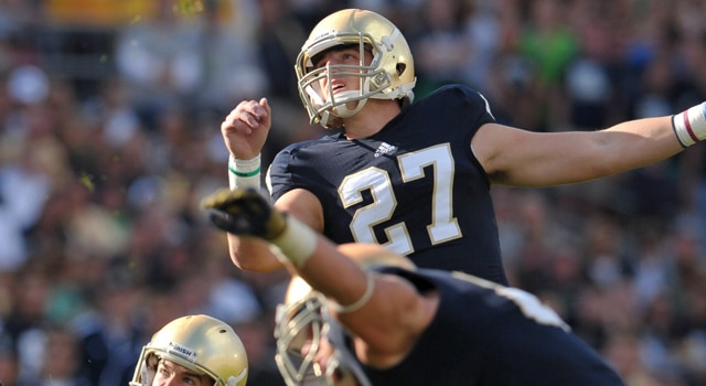 Kyle Brindza's 27 yard field goal in the final minute improved Notre Dame to 2-0 for the first time since 2008.  (Photo - Matt Cashore / USPRESSWIRE)