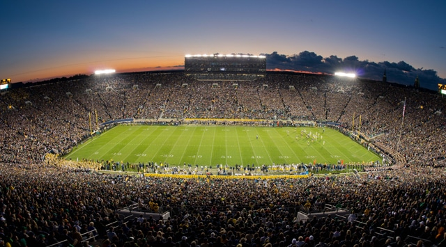 A general view of Notre Dame Stadium during the first quarter of the game between the Notre Dame Fighting Irish and the Michigan Wolverines. Notre Dame won 13-6. (Photo - Matt Cashore / US PRESSWIRE)