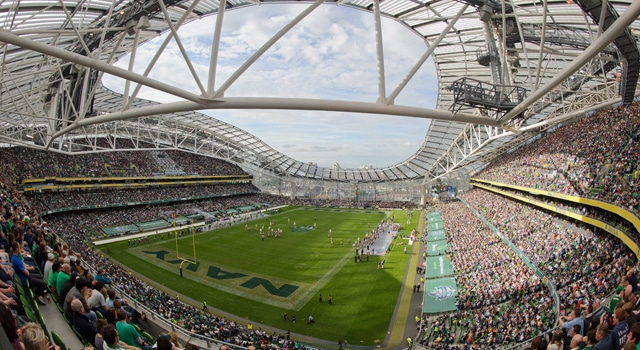 A general view of Aviva Stadium in the third quarter of the game between the Navy Midshipmen and the Notre Dame Fighting Irish. Notre Dame won 50-10. (Photo - Matt Cashore-US PRESSWIRE)