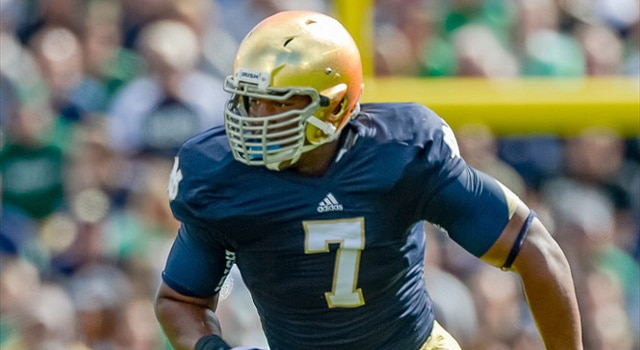 Notre Dame Fighting Irish defensive end Stephon Tuitt (7) in game action. The Notre Dame Fighting Irish defeated the Purdue Boilermakers by the score of 20-17, at Notre Dame Stadium, in South Bend, IN. (Photo - Robin Alam / Icon Sports Media)