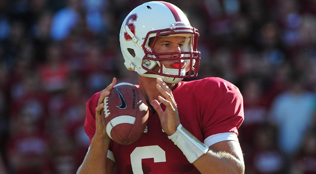 Stanford Cardinal quarterback Josh Nunes (6) looks for a receiver during the first quarter against the Southern California Trojans at Stanford Stadium. (Photo: Kyle Terada / US PRESSWIRE)