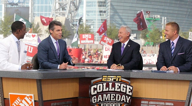 ESPN's College Gameday crew of Chris Fowler, Lee Corso, Kirk Herbstreit, and Desmond Howard will be filming live from Notre Dame this weekend for the first time since 2005.  (Photo: Kevin Jairaj / US PRESSWIRE)