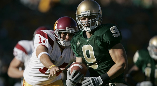Before this weekend's visit from ESPN's College Gameday crew, the last time they had been to Notre Dame for a live broadcast was for the 2005 thriller against USC.  (Photo: Andy Altenburger/Icon SMI).