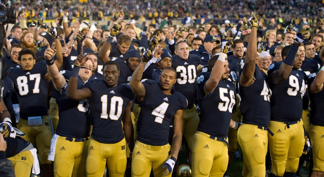 The Notre Dame Fighting Irish celebrate after defeating the BYU Cougars 17-14 at Notre Dame Stadium. (Photo: Matt Cashore / US PRESSWIRE)