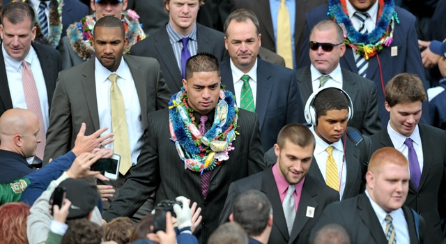 Notre Dame Fighting Irish linebacker Manti Te'o walks into Notre Dame Stadium before the game against the BYU Cougars. (Photo: Matt Cashore / US PRESSWIRE)