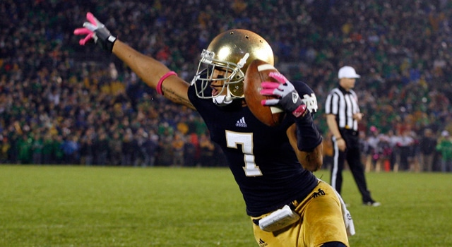 Notre Dame Fighting Irish wide receiver T.J. Jones (7) celebrates scoring the winning touchdown against the Stanford Cardinal at Notre Dame Stadium. Notre Dame defeats Stanford in overtime 20-13. (Photo: Brian Spurlock /US PRESSWIRE)