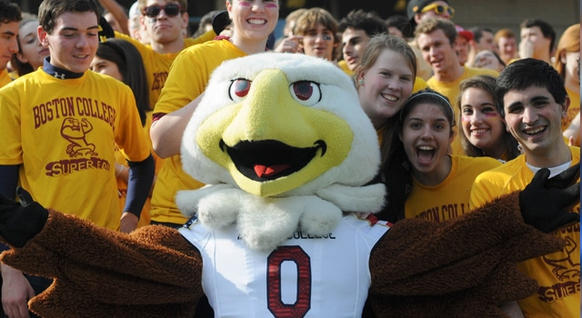 Boston College Eagles mascot Baldwin with fans during the first quarter against the Maryland Terrapins at Alumni Stadium. (Photo: Bob DeChiara / US PRESSWIRE)