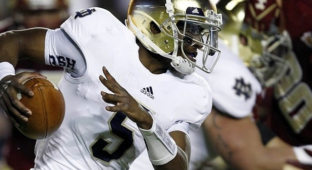 Nov 10, 2012; Boston, MA, USA; Notre Dame Fighting Irish quarterback Everett Golson (5) runs the ball against the Boston College Eagles during the first half at Alumni Stadium. Mandatory Credit: Mark L. Baer-US PRESSWIRE
