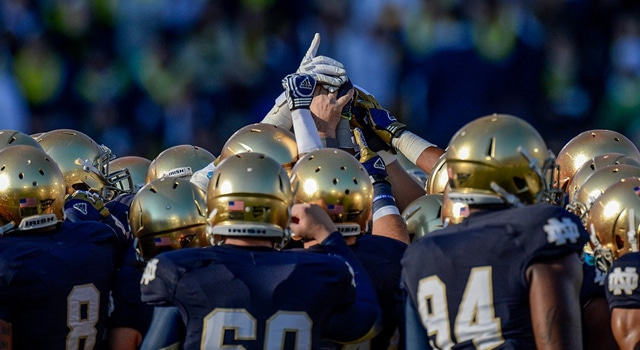 Notre Dame Fighting Irish players hold up a number one sign in a huddle prior to game action. The Notre Dame Fighting Irish defeated the Wake Forest Demon Deacons by the score of 38-0 at Notre Dame Stadium in Notre Dame, IN. (Photo: Robin Alam / IconSMI)
