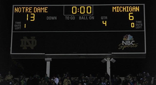 The scoreboard at the end of the game during an NCAA football game between the Michigan Wolverines and the Notre Dame Fighting Irish at Notre Dame Stadium in Notre Dame, IN. (Photo: Chris Williams / IconSMI)
