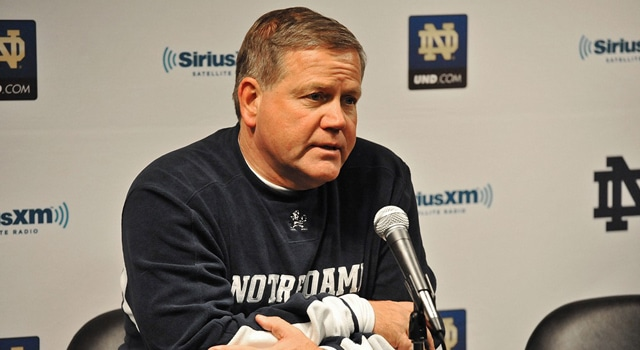 Notre Dame head coach Brian Kelly addressed the media on Saturday after the Fighting Irish's latest practice for next week's BCS National Championship game on Saturday.  (Photo - Michael Tureski/Icon SMI)