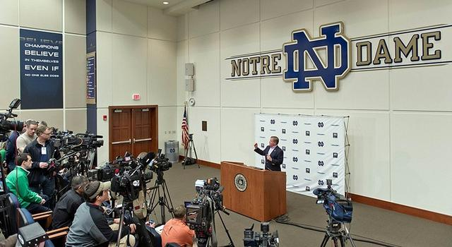 Dec 17, 2012; South Bend, IN, USA; Notre Dame Fighting Irish head football coach Brian Kelly addresses the media at the Notre Dame BCS national championship media day at the Guglielmino Athletics Complex. Mandatory Credit: Matt Cashore-USA TODAY Sports