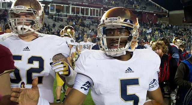 Nov. 10, 2012; Boston, MA, USA; Notre Dame Fighting Irish quarterback Everett Golson (5) shakes hands after Notre Dame defeated the Boston College Eagles 21-6 at Alumni Stadium. Mandatory Credit: Matt Cashore-USA TODAY Sports