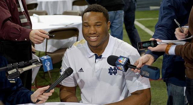 Dec 17, 2012; South Bend, IN, USA; Notre Dame Fighting Irish defensive end Stephon Tuitt answers questions at the Notre Dame BCS national championship media day at the Loftus Sports Center. Mandatory Credit: Matt Cashore-USA TODAY Sports