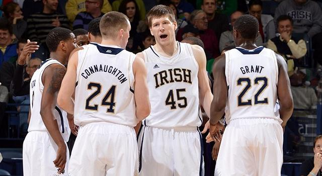 Dec 21, 2012; South Bend, IN, USA; Notre Dame Fighting Irish forward Jack Cooley (45) talks to his teammates in the second half against the Niagara Purple Eagles at the Purcell Pavilion. Notre Dame won 89-67. Mandatory Credit: Matt Cashore-USA TODAY Sports