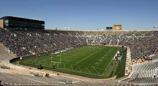 South Bend, IN, USA; A genera view of Notre Dame Stadium during the spring game. (Photo - Matt Cashore / USA TODAY Sports)