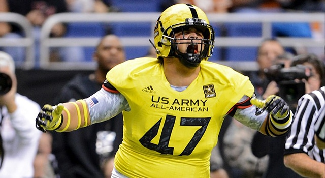 U.S. Army All-American Bowl West Team DL Eddie Vanderdoes IV (47) from Placer High School in Auburn, CA celebrates after a sack during the 2013 U.S. Army All-American Bowl in the Alamodome in San Antonio Texas. (Photo - John Albright / IconSMI)
