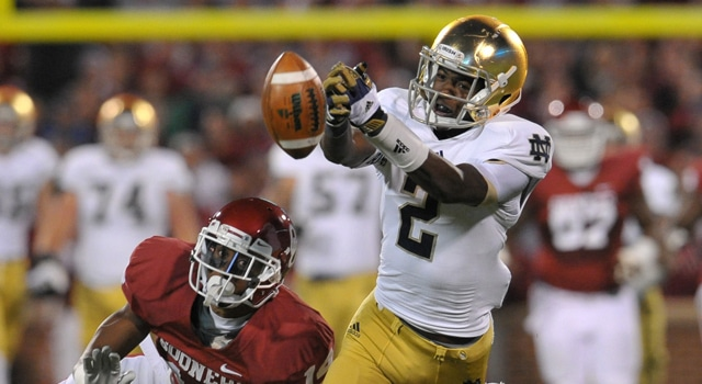 Can rising sophomore Chris Brown transition from being more of deep threat decoy to a steady performer out of the slot for Notre Dame in 2013?  (Photo - Matt Cashore / USA TODAY Sports)