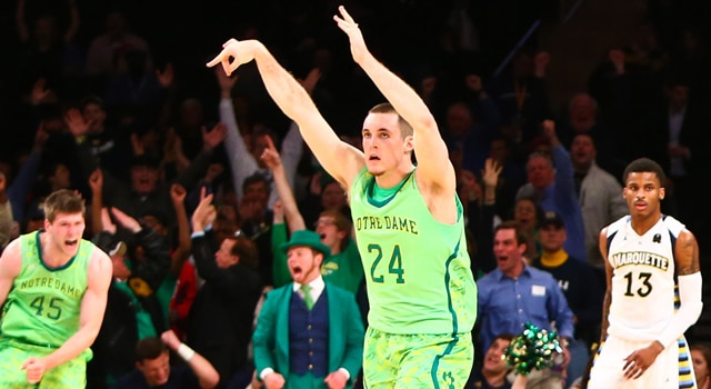 Notre Dame Fighting Irish guard/forward Pat Connaughton (24) celebrates after scoring a three-pointer against the Marquette Golden Eagles during the second half of a quarterfinal game during the Big East tournament at Madison Square Garden. Notre Dame won 73-65. (Photo: Debby Wong / USA TODAY Sports)