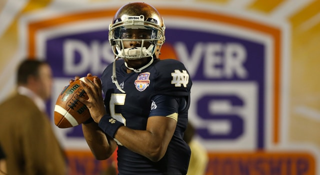 Notre Dame Fighting Irish quarterback Everett Golson (5) throws prior to the game against the Alabama Crimson Tide during the 2013 BCS Championship game at Sun Life Stadium. Alabama won 42-14. Mandatory Credit: Matthew Emmons-USA TODAY Sports