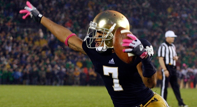 T.J. Jones, shown here celebrating what turned out to be the game winning touchdown against Stanford is poised for a big senior season for Notre Dame.  (Photo: Brian Spurlock / USA TODAY Sports)
