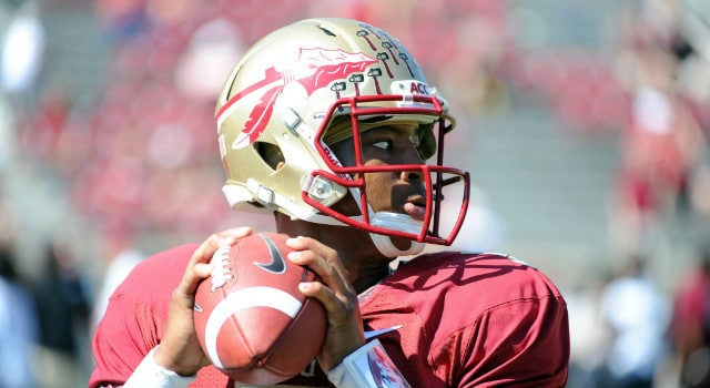 Florida State Seminoles quarterback Jameis Winston (5) warms up before the start of the game against the Maryland Terrapins at Doak Campbell Stadium. Mandatory Credit: Melina Vastola-USA TODAY Sports