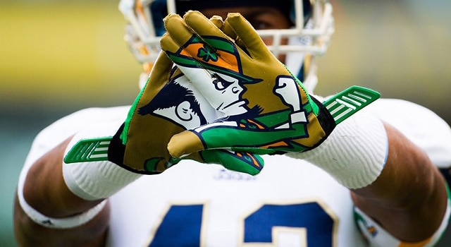 A general view of the gloves worn by Notre Dame players at the Aviva Stadium, Dublin  (Ken Sutton/Colorsport/Icon SMI)