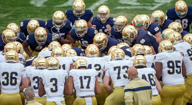 The Notre Dame Fighting Irish huddle before the Blue-Gold Game at Notre Dame Stadium. Mandatory Credit: Matt Cashore-USA TODAY Sports