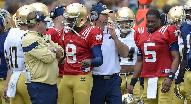 Notre Dame Fighting Irish quarterback Malik Zaire (8) consults with head coach Brian Kelly in action during the Notre Dame Blue - Gold Game at Notre Dame Stadium, in South Bend, IN. (Photo - Robin Alam / IconSMI)