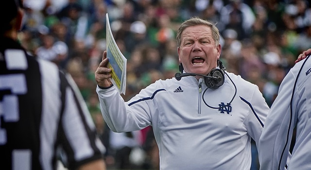 Brian Kelly is getting used to dealing with the occasional absurdity of the coverage of Notre Dame football (Photo: Robin Alam / Icon SMI)