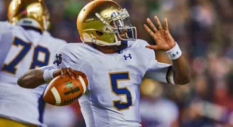 Notre Dame Fighting Irish quarterback Everett Golson (5) throws in the first quarter against the Navy Midshipmen at FedEx Field. (Photo: Matt Cashore - USA TODAY Sports)