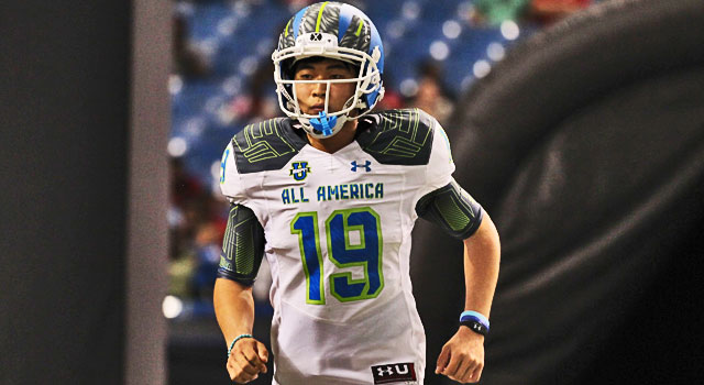 Team Highlight (White) kicker Justin Yoon (19) during the 2015 Under Armour All-America Game at Tropicana Field in St. Petersburg, Florida. (Photo: Mark LoMoglio/Icon Sportswire)