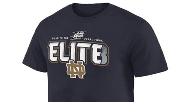 Notre dame elite 8 t shirts on sale now for Notre dame tee shirts