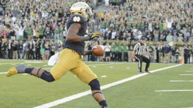 Sep 19, 2015; South Bend, IN, USA; Notre Dame Fighting Irish running back C.J. Prosise (20) runs into the end zone for a touchdown in the fourth quarter against the Georgia Tech Yellow Jackets at Notre Dame Stadium. Notre Dame won 30-22. Mandatory Credit: Matt Cashore-USA TODAY Sports