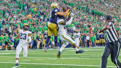 Notre Dame WR Chris Finke with the catch of the game vs. Michigan